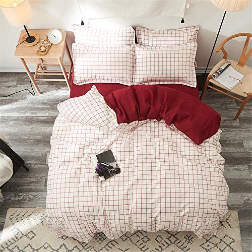 YUNSW Streifen Bettbezug Flaches Blatt Kissen Bettbezug Bettwäsche Set Weiche Baumwolle Bettwäsche Königin King Size Voll B 200x230 cm -