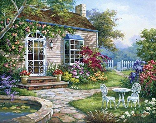 Wowdecor DIY Malen nach Zahlen Kits Geschenk für Erwachsene Kinder, Malen nach Zahlen Home Haus Dekor - Wald Blumen Garten Hütte Landschaft 40 x 50 cm Ohne Rahmen