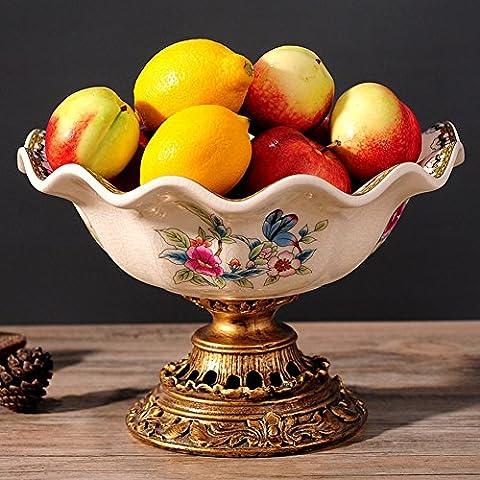 American pastoral gehobenen Blumen und Vögel Malerei Keramik Obstschale Vintage Frucht