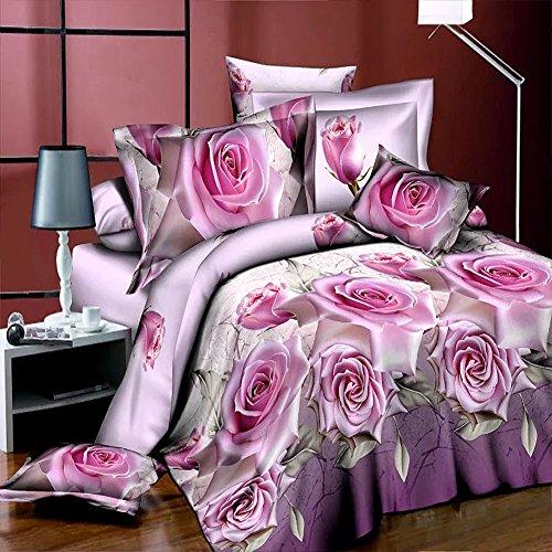 3D Bettwäsche-Set Pink Rose Bettbezug, bedruckt Bettwäsche 4Piece Queen Size