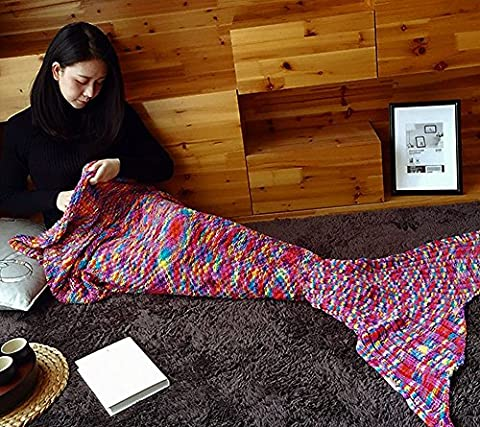 Mermaid Tail Blanket by Fansheng, Novelty Luxury Mermaid Tails Sleeping Bag Air Conditioning Blanket Cotton + wool + polyester Slumber Bag Knitting Pattern Cute Mermaid Gift (Multi-colour) by fansheng