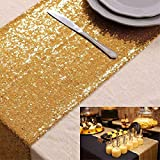ShinyBeauty Tischläufer mit glitzernden Pailletten für Hochzeit/besondere Anlässe, 30 cm x 180 cm, gold, 12x72-Inch
