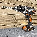 Worx wx372.920V, con batería, 13mm portabrocas cierre rápido, velocidad 1.800U/min, Impacto Número 28.800BPM, luz de trabajo, 1pieza, sin batería, cargador y accesorios, negro/naranja
