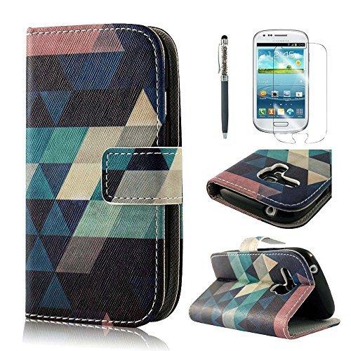 PhoneCase Buchstil PU-Leder-Schutzhülle für Samsung Galaxy S3 mini inkl. Stift Stylus Pen/Display Schutzfolie dunkelblau