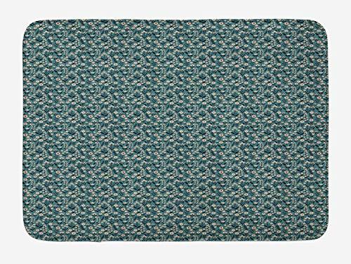 ASKYE Flower Bath Mat, Spring Meadow in Full Blossom Seasonal Garden Environment Rural Field, Plush Bathroom Decor Mat with Non Slip Backing, 23.6 W X 15.7 W Inches, Dark Blue Teal Blush -