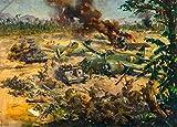 Vintage british 2. Weltkrieg 1939?45Propaganda Gemälde Invasion Szene in Fernost mit shot-down Flugzeug, 250gsm, Hochglanz, A3, vervielfältigtes Poster