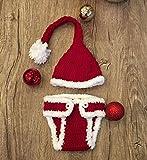 Traje de Santa para bebé recién nacido de Matissa, tejido de ganchillo, sombreros y trajes para fotografía