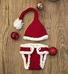 Idea Regalo - Babbo Natale, costume cucito all'uncinetto per foto di neonati, con cappello