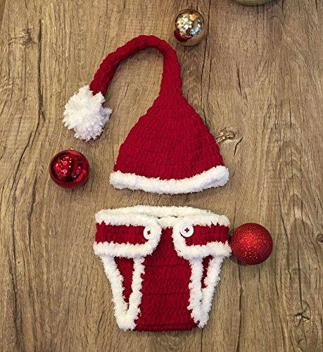 Santa, Newborn Baby Girl/Boy Crochet Knit Costume Photo Photography Prop Hats - Santa Girl Kostüm Weihnachten