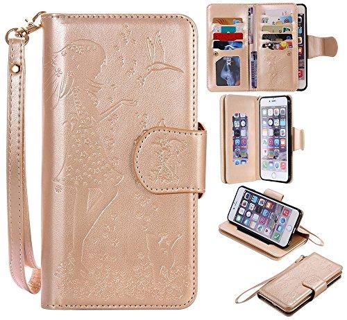 C-Super Mall-UK Apple iPhone 6 / 6s hülle[9 Kartenschlitze und Verfassungsspiegel], Geprägt Mädchen & Katze Muster PU-Leder Brieftasche Stehen Flip hülle Apple iPhone 6 / 6s(blau) golden