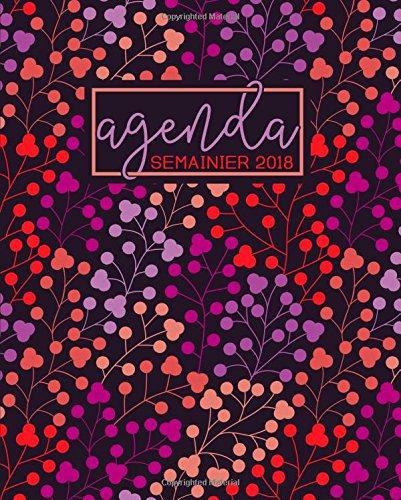 Agenda: 2018 Agenda semainier : 19x23cm : Motif floral corail, lavande, violet et pche