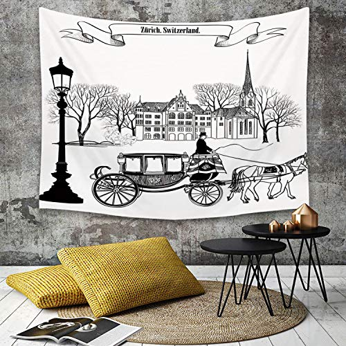 Tapestry, Wall Hanging, Sketchy, Old Street Scene Carriage Horse aus den zwanziger Jahren Historisches Nordeuro,wall hanging wall decor, Bed Sheet, Comforter Picnic Beach Sheet home décor 130 x 150 cm - Street Wall Tapestry
