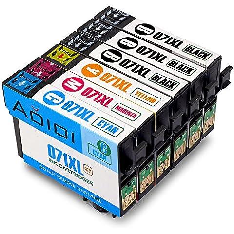 Aoioi Reemplazo para Epson T0711 T0712 T0713 T0714 Cartuchos de tinta 3 Negro 1 Cian 1 Magenta 1 Amarillo, paquete múltiple Compatible para Epson D78 / DX4000 / DX4050 / DX500 / DX5050 / DX6000 / DX6050 / DX4450 / DX4400 / D120 /DX7450 / DX8450 / DX8400 Impresora