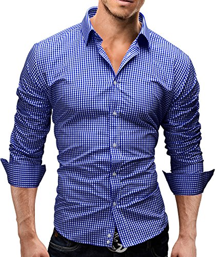 MERISH Herren Langarm Hemd Slim Fit Kariertes Design Modell 41 Blau