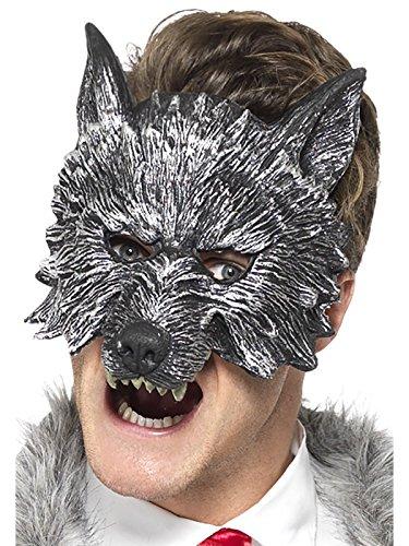 Smiffys Herren Großer Böser Wolf Maske, One Size, Grau, - Für Wolf Maske Erwachsene