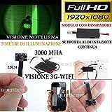 Telecamera spia wifi, microcamera nascosta con led infrarossi visione notturna full hd