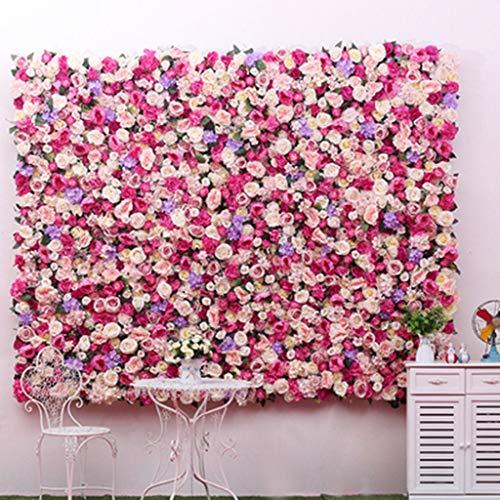Love-huaqiang Blumen-Wand-Hintergrund-Simulation Seidenblume Rose Hochzeit Blumen-Wand-Dekorations-Foto-Hintergrund-Blumen-Wand (Farbe : H)