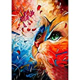 DIY 5D Diamond Painting, Crystal Rhinestone Embroidery Pictures Arts Craft for Home Wall Decor Color Cat 11.8 x 15.7