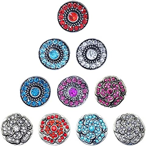 Soleebee Rhinestones de la aleación 18mm Snap Charms Botones joyería paquete de 10pcs
