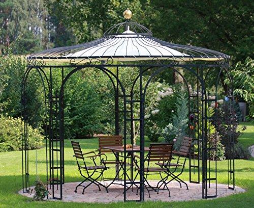 ELEO Florenz runder Eisenpavillon mit Sonnensegel, Ø 3,7 Meter (Oberfläche: anthrazit duplexbeschichtet)