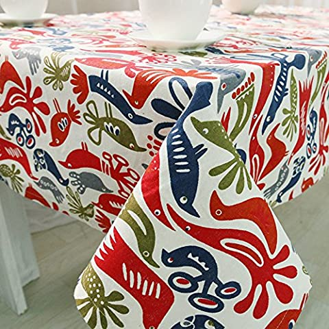SUUNHH-Cotton bird color tablecloth quality coffee table cover fabric pure cotton napkins table