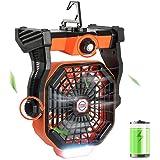 Tresbro 2in1 Ventilateur Camping 10400mAh ventilateur bureau silencieux avec Lumière LED 270°Rotation Crochet pliable,ventila
