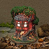 Garden Glows Fairy Dwelling - THE HOME OF FEATHER HEARTFLY - Fairy Treehouse - for indoor outdoor use - with 3 solar powered LEDs