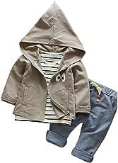 Hirolan 3 Stück Outfits Kleinkind Kind Bekleidungssets Baby Mädchen Jungen Streifen T-Shirt + Kapuzenpullover Mantel + Hosen Kleider Kinderkleidung Babyausstattung
