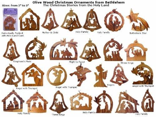 Olivenholz-Weihnachtsschmuck, verschiedene spirituelle / religiöse Motive, 12 Stück