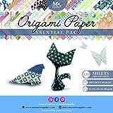 Set papier origami - 120 feuilles -Papier traditionnel japonais à plier comprenant de motifs floraux, animaux, aztèques, géométriques - Créez des fleurs, une grue, une chouette, un dragon, des animaux...