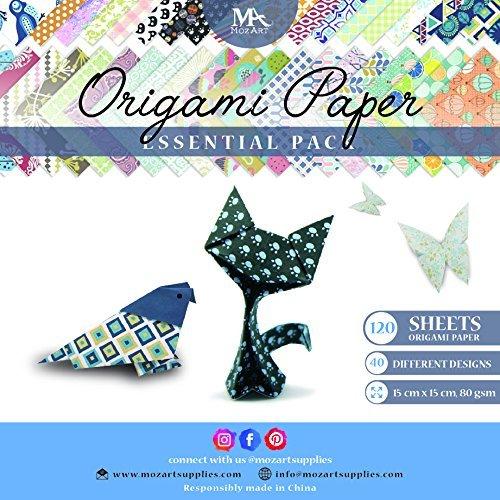 MozArt Supplies Origami Papier Set - 120 Blätter - Traditionelles japanisches Faltblatt mit 40 Mustern, Blumen, Tieren, Azteken, geometrischen - Basteln Sie Blumen, Kraniche, Eulen, Drache