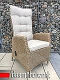 dasmöbelwerk Polyrattan Hochlehner mit Sitzpolstern Rattan Stuhl Relax Sessel Gartenmöbel Gartenstuhl PISA Cappuccino