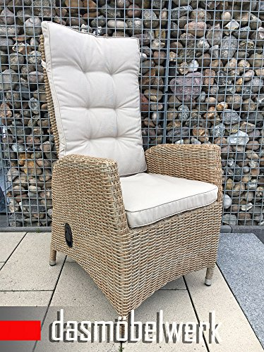 dasmöbelwerk Polyrattan Hochlehner mit Sitzpolstern Rattan Stuhl Relax Sessel Gartenmöbel...