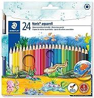 Staedtler Noris Aquarell, Crayons de couleur aquarellables avec système anti-casse, Utilisables à sec ou l'