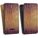 Sony Xperia E Tasche Hülle Flip Case Schlangenhaut Muster Gold