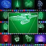 3D Lampe 3D Leuchte 3D LED Stimmungslicht. 7 verschiedene Farben wählbar - Auswahl aus 81 verschiedenen Motiven, hier Raumschiff Enterprise ca.16x22cm inkl.Sockel - 3D Illusion Dekolicht mit USB Anschluß und 220V USB Netzteil
