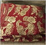 #5: Kurti Material Blouse Fabric by meter soft double side red gold brocade used for Women Dress, Gown, Saree, Bridal Lehenga, Designer Wear _100cm