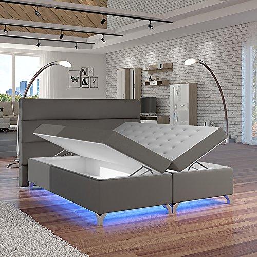 Selsey Luciano – Doppelbett/Boxspringbett in Grau mit Bettkasten RGB-LED und Farbwechsel Funktion (160x200 cm)