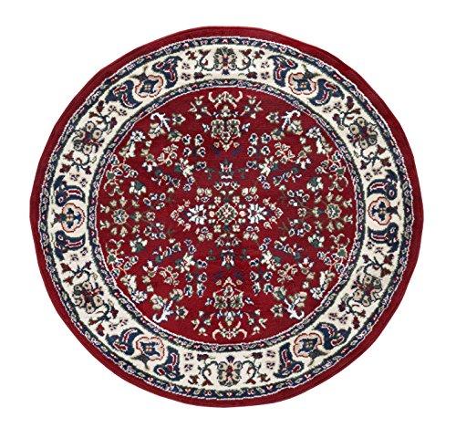 andiamo Klassicher Orientteppich Perserteppich Orientalisches Muster Webteppich Kurzflor Runder Teppich Alfombra, Polipropileno, Rojo, 120 cm (Redondo)