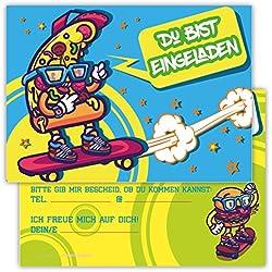 12 Einladungskarten Skateboard Graffiti Pizza Burger Set Kindergeburtstag Party Jungen Mädchen Kinder Geburtstagseinladungen Einladung Feier Skater