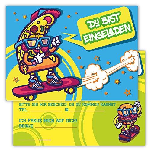 Einladungskarten für Kindergeburtstage für Jungen oder Mädchen (Pizza auf dem Skateboard, 12 Stück im Kartenset)