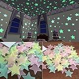 Generic 100Pcs Glow in the Dark Star Aufkleber, 3D Night Fluoreszenz Aufkleber, Yellow Star Stickers Dekor Wand für Kinder Zimmer Schlafzimmer