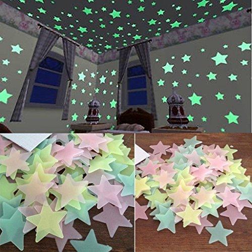 Generic 100Pcs Glow in the Dark Star Aufkleber, 3D Night Fluoreszenz Aufkleber, Yellow Star Stickers Dekor Wand für Kinder Zimmer Schlafzimmer (In Dark-wand-aufkleber Glow The)