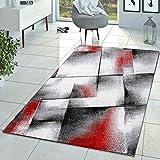 T&T Design Tapis Créateur Salon Moderne Tapis À Poils Ras Chiné Rouge Gris Crème, Dimension:120x170 cm