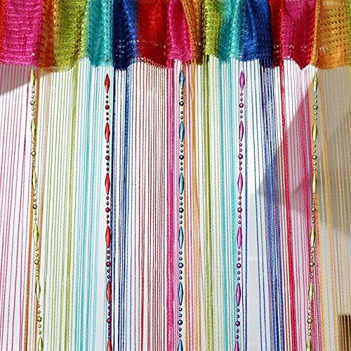 Mishiner Bunter dekorativer Schnur-Linie Quasten-Vorhang mit Korntür-Fenster-Verkleidungs-Raumteiler, Größe: 100cm x 200cm
