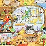Bunter Stoff mit Katzen Hasen Vögeln von Robert Kaufman
