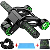 YUKAKI Faltbar Vier Runden AB Roller Bauchtrainer AB Wheel für Fitness mit Widerstandsbänder und Mat