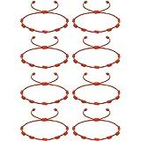 CASSIECA 2-8 Pcs Pulsera Roja 7 Nudos Amuleto Kabbalah Pulsera Ojo Turco con Mano de Fatima Hamsa Pulsera Hilo Rojo de la Sue