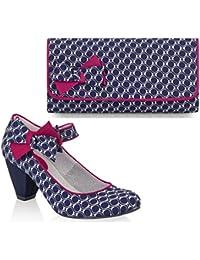Ruby Shoo Mary Jane Chaussures à talon faible avec sac Barcelona Fuchsia rayé/gris