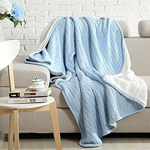 Unimall Lightweight Soft Warm Bed Throws for Settees Knitted Pattern Fuzzy Fleece Blanket Throw, Light Blue 130*160 cm
